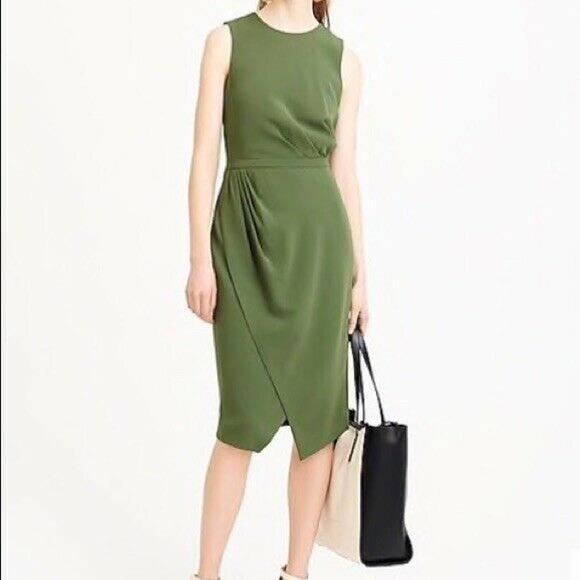 J Crew Asymmetrical Olive Green Sheath Dress 10